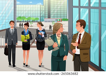 A vector illustration of business people walking and talking outside their office - stock vector