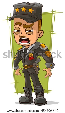A vector illustration of cartoon army general in uniform