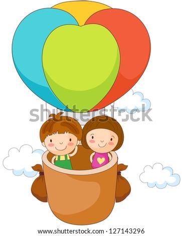 A vector illustration of children riding in a hot air balloon - stock vector