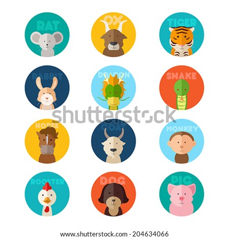 A vector illustration of Chinese zodiac animal icons - stock vector