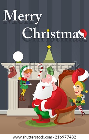 A vector illustration of Christmas  greeting card design - stock vector