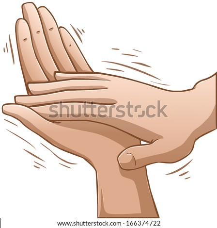 A vector illustration of clapping hands.  - stock vector