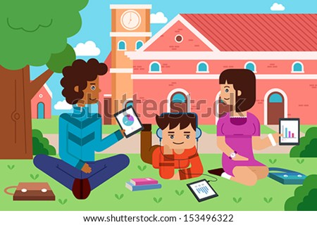 A vector illustration of college student in the campus with tablet PC