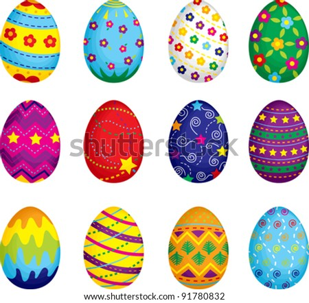 A vector illustration of colorful Easter eggs
