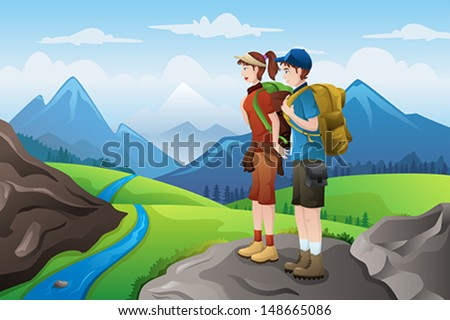 A vector illustration of couple backpackers on top of mountain - stock vector