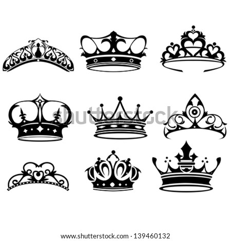 A vector illustration of crown icon sets - stock vector