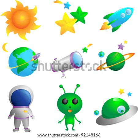 A vector illustration of cute astronomy icons - stock vector
