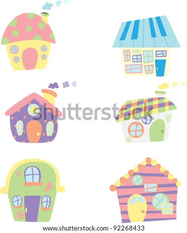 A vector illustration of cute houses icons