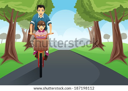 A vector illustration of dad riding a bike with daughter - stock vector