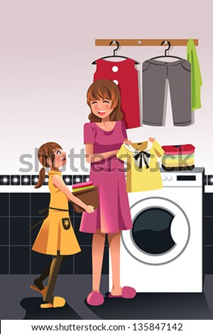 A vector illustration of daughter helping her mother doing laundry