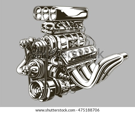 Car motor stock images royalty free images vectors for Car motor tattoos