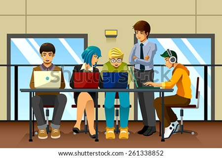 A vector illustration of different business people working together - stock vector