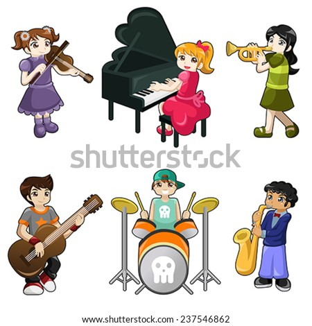 A vector illustration of different kids playing musical instrument - stock vector