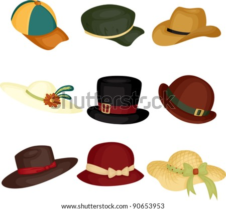 A vector illustration of different type of hats - stock vector