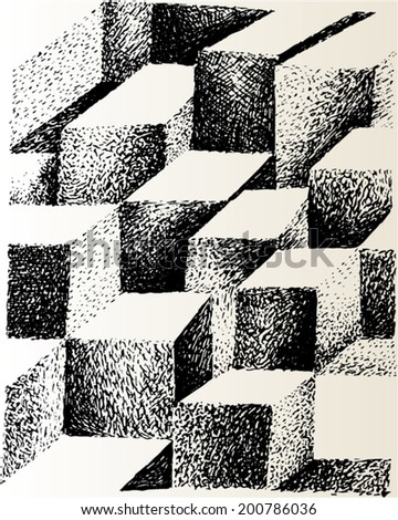 A vector illustration of 3 dimensional black and white tile pattern.  - stock vector