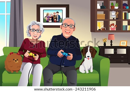 A vector illustration of elderly couple playing games at home - stock vector
