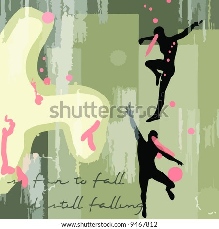a vector illustration of 2 falling silhouettes on an art paint background - stock vector