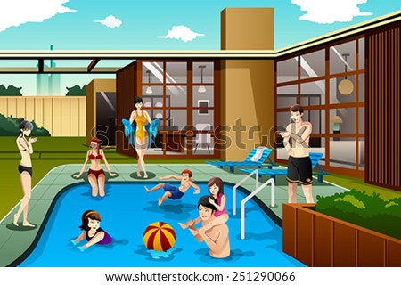 A vector illustration of family and friends spending time in the backyard swimming pool - stock vector