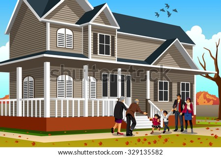 A vector illustration of family greets grandparents coming for Thanksgiving - stock vector