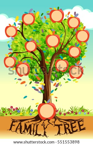 Vector Illustration Family Tree Template Stock Vector