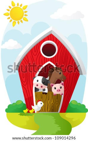 A vector illustration of farm animals in a barn - stock vector