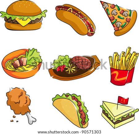 A vector illustration of fast food icons - stock vector