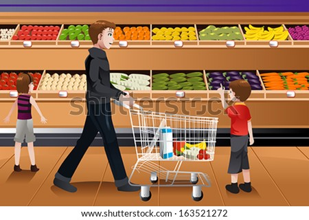 A vector illustration of father and his kids doing grocery shopping together - stock vector