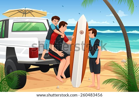 A vector illustration of father and sons going to the beach for vacation - stock vector