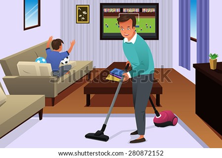A vector illustration of father vacuuming the carpet in the house while his son watching television - stock vector