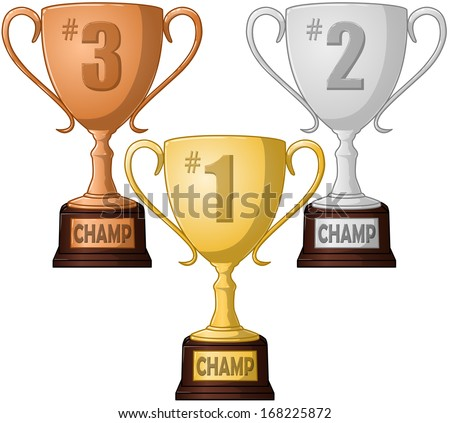 A vector illustration of first, second and third place competition trophies.  - stock vector