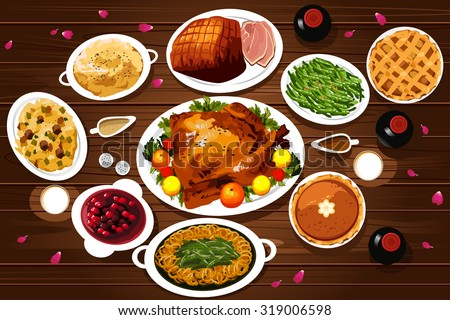 A Vector Illustration Of Food Thanksgiving Dinner On The Table Viewed From Above