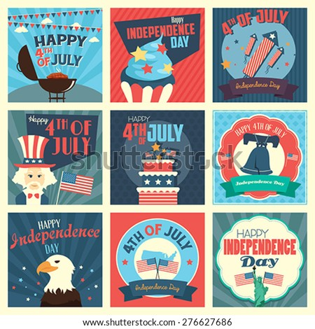A vector illustration of Fourth of July Independence Day icon sets - stock vector