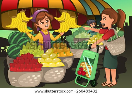 A vector illustration of fruit seller at the farmers market with a customer - stock vector