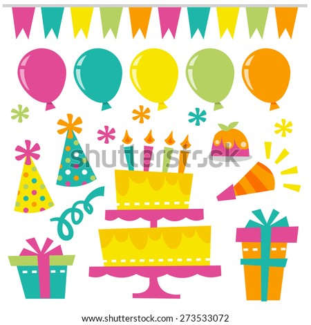 A vector illustration of fun retro birthday extravaganza design elements. - stock vector