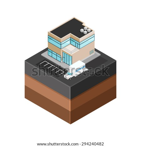 A vector illustration of generic modern offices with delivery truck. Isometric Modern Offices icon illustration. Urban commercial financial company buildings on tile surface. - stock vector