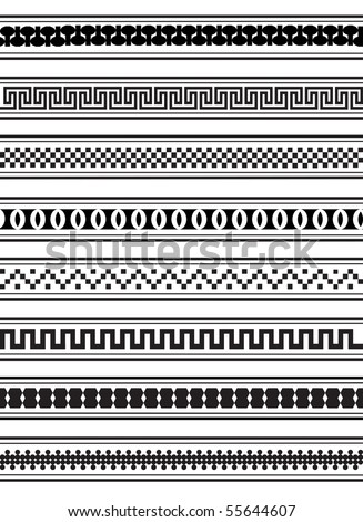 A vector illustration of geometric border patterns in black and white - stock vector