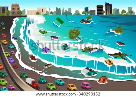 A vector illustration of giant tsunami waves crashing town