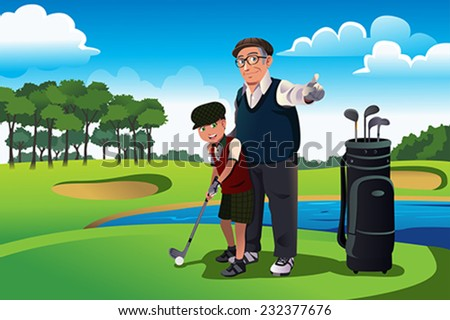 A vector illustration of grandfather teaching his grandson playing golf - stock vector