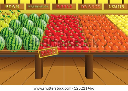 A vector illustration of grocery store produce aisle - stock vector