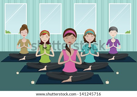 A vector illustration of group of happy women doing yoga in a studio - stock vector