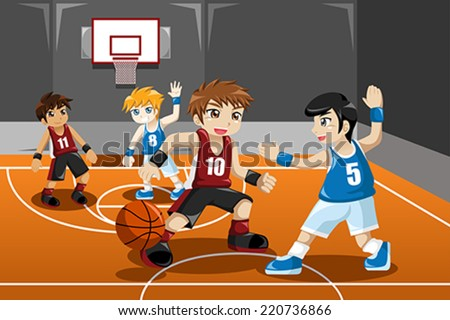 A vector illustration of group of kids playing basketball indoor - stock vector