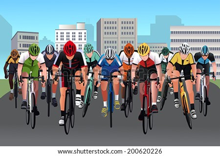 A vector illustration of group of people in a bicycle race - stock vector