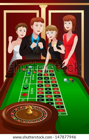 A vector illustration of group of people playing roulette in a casino - stock vector