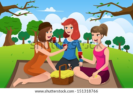 A vector illustration of group of young women having picnic in a park together - stock vector