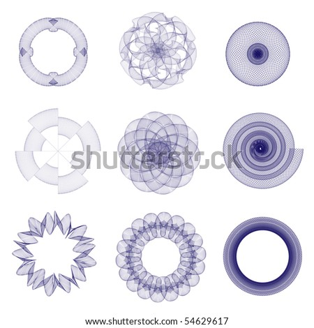 A vector illustration of guilloche elements suitable for use in certificates, vouchers or awards - stock vector