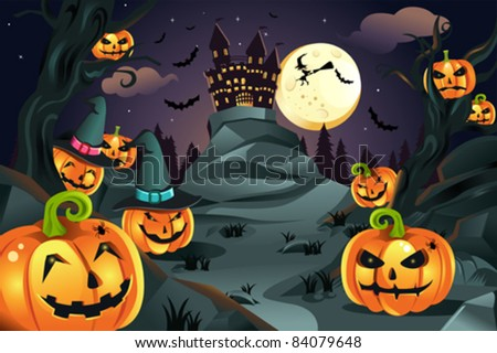 A vector illustration of Halloween background with pumpkins and spooky castle and flying bats