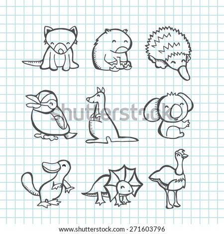 A vector illustration of happy australian animals set in line art doodle drawing style. tasmanian devil, wombat, echidna, kookaburra, kangaroo, koala bar, platypus, frill neck lizard and emu.  - stock vector