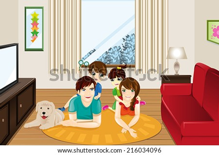 A vector illustration of happy family at home - stock vector