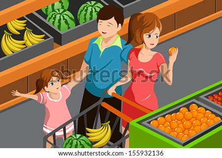 A vector illustration of happy family choosing fruits in supermarket together - stock vector