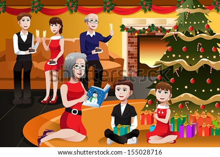 A vector illustration of happy family having a Christmas party together - stock vector